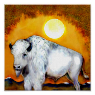 Gran búfalo blanco póster
