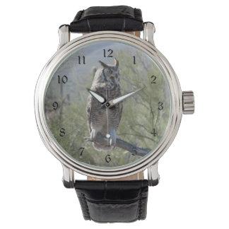 Gran búho de cuernos relojes de mano