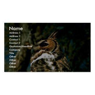 Gran búho de cuernos tarjetas de visita