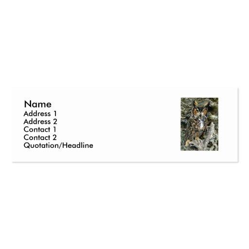 Gran búho de cuernos, tarjeta del perfil/de visita plantillas de tarjetas de visita