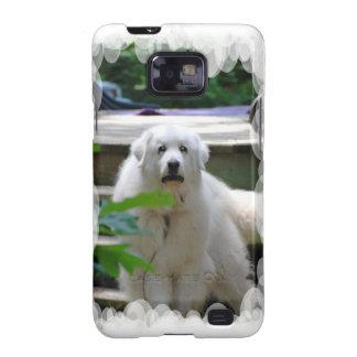 Gran caja blanca de la galaxia de Samsung del perr Samsung Galaxy SII Funda