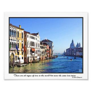 Gran Canal de Venecia con cita del amor Impresiones Fotográficas