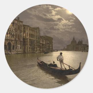 Gran Canal por el claro de luna II, Venecia, Pegatina Redonda