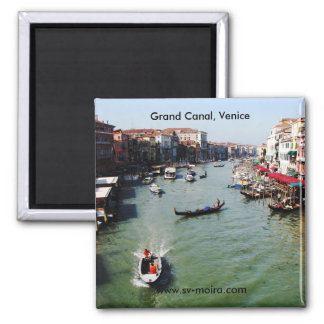 Gran Canal, Venecia del puente de Rialto Imán Cuadrado