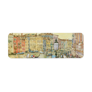 Gran Canal Venecia por Prendergast arte del vint Etiqueta De Remite