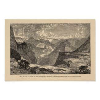 Gran Cañón Amphitheatre motas esculpidas Poster
