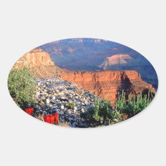 Gran Cañón del cactus de la taza de clarete del Pegatina Ovalada