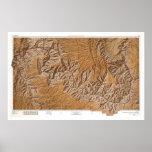 Gran Cañón y mapa 1962 de la vecindad Póster