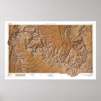 Gran Cañón y mapa 1962 de la vecindad Poster