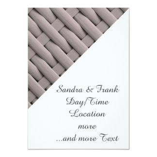 gran cesta trenzada, plata invitación 12,7 x 17,8 cm