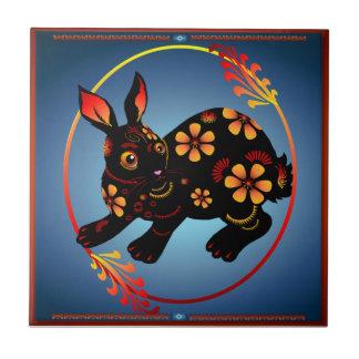 Gran conejito negro.  Año feliz del conejo. Teja