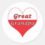 Gran corazón del polaco del abuelo pegatina redonda