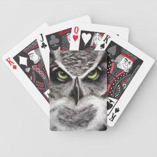 Gran dibujo de carbón de leña de los búhos del tig barajas de cartas