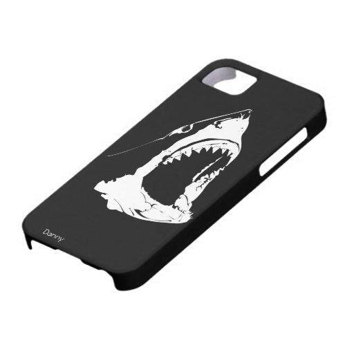 Gran diseño blanco y negro del tiburón blanco iPhone 5 carcasas