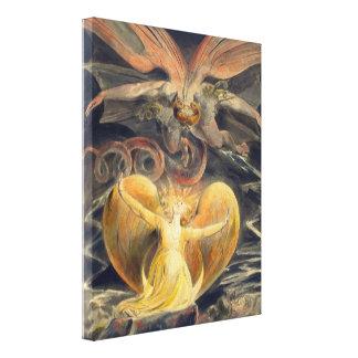 Gran dragón rojo de Guillermo Blake Impresión En Lona Estirada