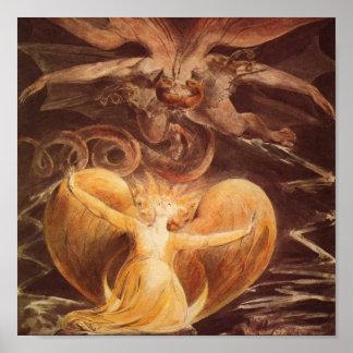 Gran dragón rojo y la mujer vestida con Sun Poster