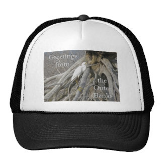 Gran Egret (Ardea alba) OBX Outer Banks Gorro De Camionero