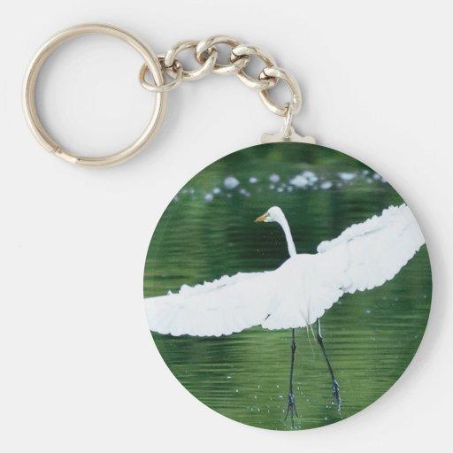 Gran Egret blanco Llaveros Personalizados