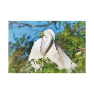 Gran Egret en el momento de la maternidad Impresiones En Lona Estiradas