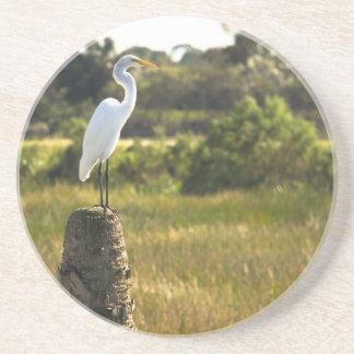 Gran Egret en el práctico de costa de los humedale Posavasos Personalizados