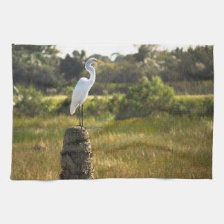 Gran Egret en los humedales de Viera Toallas De Cocina