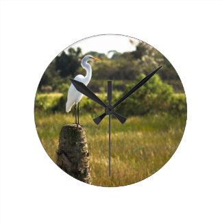 Gran Egret en los humedales de Viera Reloj De Pared