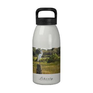 Gran Egret en los humedales de Viera Botellas De Agua Reutilizables