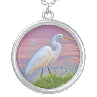 Gran Egret que da un paseo en el collar de la sali