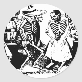Gran Fandango Skeletons Dancing Mexico Vintage Classic Round Sticker