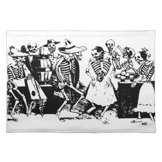 Gran Fandango Skeletons Dancing Mexico Vintage Cloth Placemat