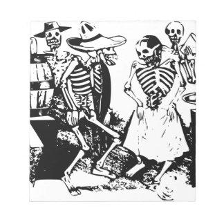 Gran Fandango Skeletons Dancing Mexico Vintage Notepad