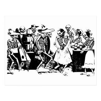 Gran Fandango Skeletons Dancing Mexico Vintage Postcard