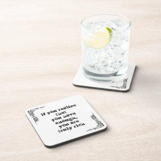Gran frase simple fresca de tao de la filosofía de posavasos de bebida