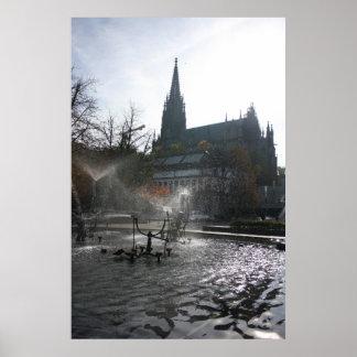 Gran fuente de Tinguely del iluminador, Basilea Póster