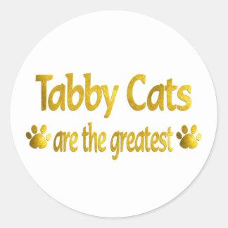Gran gato de Tabby Pegatina Redonda
