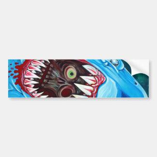 Gran Gobstopper blanco - tiburón CONTRA zombi Etiqueta De Parachoque
