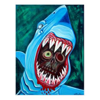 Gran Gobstopper blanco - tiburón CONTRA zombi Postales
