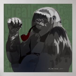 Gran gorila verde póster