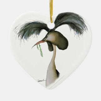 gran grebe con cresta, fernandes tony adorno navideño de cerámica en forma de corazón