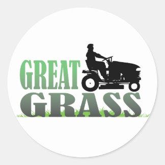 Gran hierba etiquetas redondas