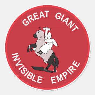Gran imperio invisible gigante pegatina redonda
