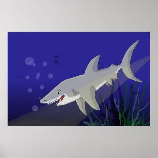 Gran impresión del poster del tiburón blanco del d