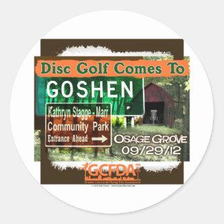 Gran inauguración del golf del disco de Goshen de Pegatina Redonda