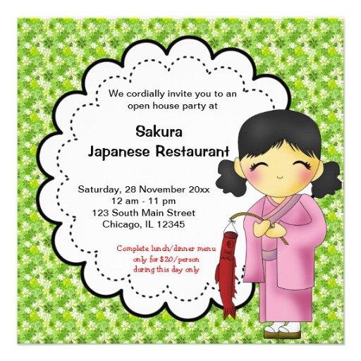 Gran inauguración japonesa invitaciones personales