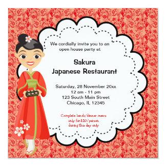"""Gran inauguración japonesa invitación 5.25"""" x 5.25"""""""