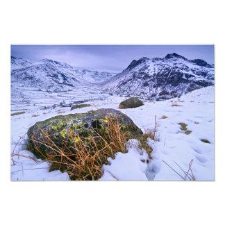 Gran invierno de Langdale - el distrito del lago Impresiones Fotográficas