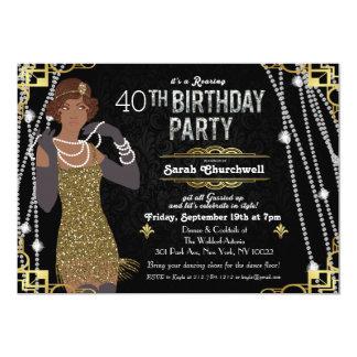 Gran invitación del cumpleaños del art déco de