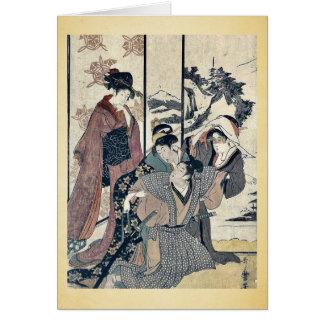 Gran limpieza de la casa por Kitagawa, Utamaro Tarjetón