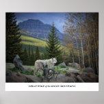 Gran lobo de las montañas rocosas posters