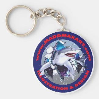 Gran logotipo del tiburón blanco de Maddmax Llaveros Personalizados